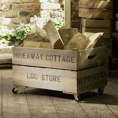 A rustic and durable wooden large personalised apple crate. With added wheels it is ideal for wooden log storage. Wooden Apple Crates, Wood Crates, Wood Boxes, Crate Storage, Storage Boxes, Wooden Storage Crates, Shoe Storage, Indoor Log Storage, Range Buche