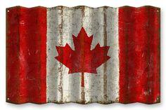 Canadian Flag Corrugated Metal Sign