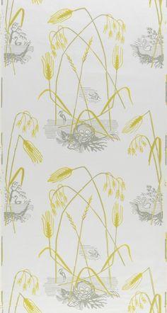 Edward Bawden — Swan & Grass (White,Yellow,Grey) (1950's) This...