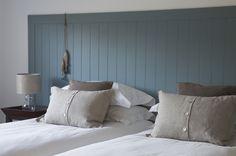 Coastal bedroom. Daymer Bay. New build. Headboard. F&B Berrington Blue