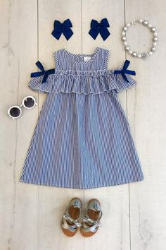 Navy Stripe Sunkissed Shoulder Dress – Sparkle In Pink Dunkelblaues Sunkissed Schulterkleid mit Streifen – Sparkle In Pink African Dresses For Kids, Little Girl Outfits, Little Girl Dresses, Kids Outfits, Girls Dresses, Dress Girl, Baby Dress Design, Baby Girl Dress Patterns, Frock Design