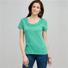 Scoop Neck Tee With Applique