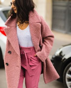 p i n t e r e s t || @lexibuswell , layering colour, pink in pink, colorful outfit, feminine outfit, statement coat, spring outfit
