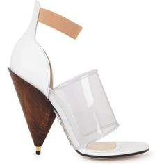 Givenchy Leather And Perspex Sandals (2.035 BRL) ❤ liked on Polyvore featuring shoes, sandals, white and other, white high heel sandals, open toe sandals, strap sandals, leather strappy sandals and high heel shoes