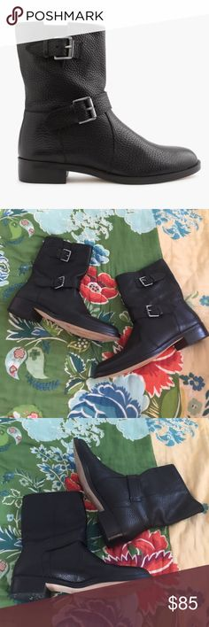 JCrew Biker Boots Sold out for full price online! Amazing pre worn condition. Only slight wear on soles. J. Crew Shoes Ankle Boots & Booties