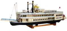 """Vintage Creole Queen Paddle-wheel Nautical Toy Operating Model  USA  Ca 1986  LOA 51"""" LOD 48"""" BEAM 9 1/2"""" DRAFT 1 3/4"""" HEIGHT 18"""" WEIGHT 10 Lbs"""