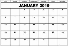 9 Best January 2019 Calendar Template Images On Pinterest