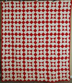 EYE-CATCHING-30s-Vintage-Red-White-Nine-Patch-Periwinkle-Star-Antique-Quilt