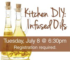 Adult Programs | Paul Sawyier Public Library | Concoct your own infused olive oils! This event is free and will take place in the Library Community Room. Adult patrons, please register. Space is limited!