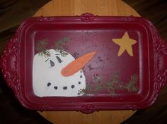 snowmen to pain | Snowman hand painted plate