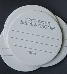 15 Advice for the BRIDE & GROOM Coasters, modern design (Letterpress printed, 3.5 inches circle), perfect for weddings