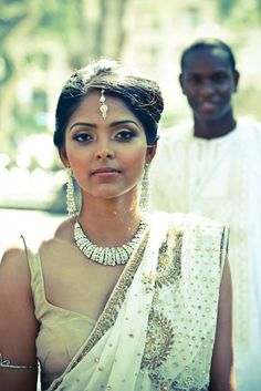 {Simple Stunner} This Indian bride with her African groom in the background! Adore planning mutli- cultural weddings!