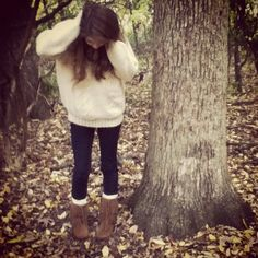 Fall clothes - I'm wearing a goodwill sweater, skinnies, and Minnetonka boots
