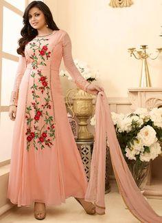 Drashti Dhami Peach Anarkali Suit More