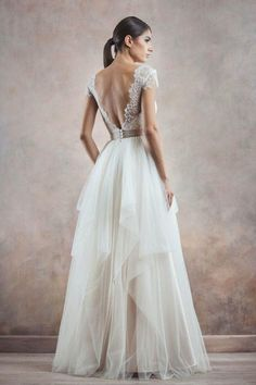 Really pretty for bridesmaids.or if it was fuller and longer for the bride Well Dressed: Poetica by Divine Atelier Low Back Wedding Gowns, Backless Wedding, Mod Wedding, Dream Wedding, Wedding Dresses, Lace Wedding, Backless Gown, Wedding Ideas, Divine Atelier