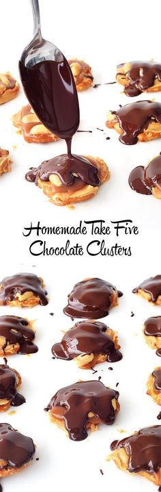 Easy Homemade Take 5 Chocolate Clusters that tastes just like the American candy bar | Sweetrest Menu