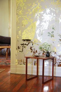 Gold White Peacock Wallpaper | Genevieve White Carter