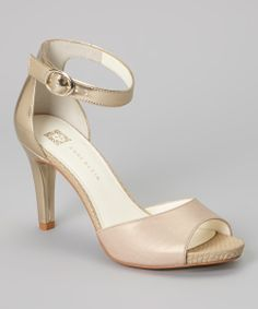 Look at this #zulilyfind! Light Gold and Taupe Leather Opalize Ankle-Strap Sandal by Anne Klein #zulilyfinds