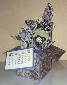 Mamapias-Stempelecke: Card in a box - zum Geburtstag und zum neuen Jahr