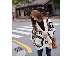 Morden Style Loose-Fitting Roman Geometric Pattern Batwing Sleeve Knitting Sweater For Women (AS THE PICTURE,ONE SIZE) China Wholesale - Sammydress.com