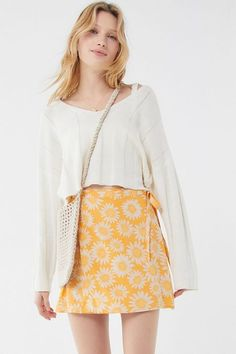 Shop Motel Darla Daisy Wrap Mini Skirt at Urban Outfitters today. Cool Summer Outfits, Summer Fashion Outfits, Skirt Fashion, Cute Outfits, Yellow Outfits, Overalls Fashion, Spring Skirts, Pants For Women, Clothes For Women