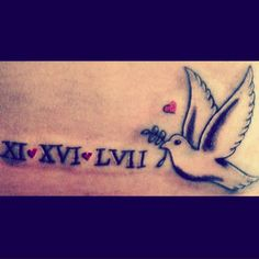 Dove tattoo Roman numeral tattoo small tattoo for girls baby Tatt cute tattoo