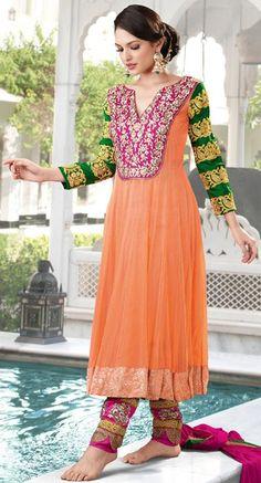 $114.83 Orange and Pink Long Designer Anarkali salwar Kameez 22262