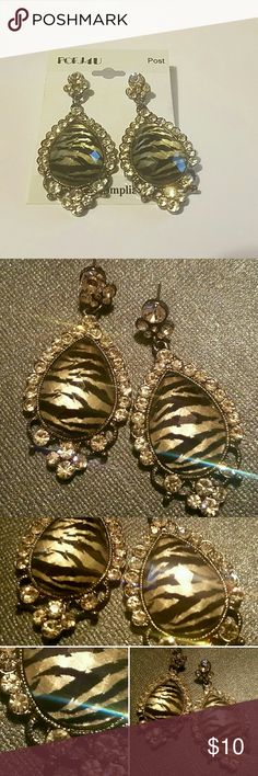 "Zebra Print Cobochon & C.Z. Drop Earrings **JUST IN** Zebra Print Cobochon & C.Z. Drop Earrings. 2.25"" long 1"" wide teardrop shaped. Jewelry Earrings"