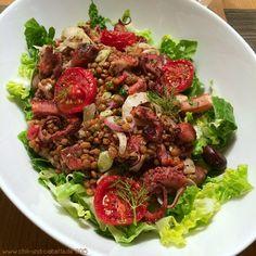Lauwarmer Linsensalat mit Oktopus, halbgetrockneten Tomaten und Fenchel   Chili und Ciabatta