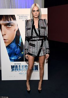 Movie star: Earlier in the evening, Cara looked in high spirits as she promoted her latest...