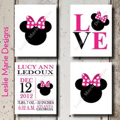 MINNIE MOUSE Wall Art - Nursery Kids Room