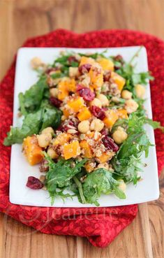 Quinoa, Butternut Squash, Chickpea, Apple, Roasted Beet Salad Recipe #cleaneating