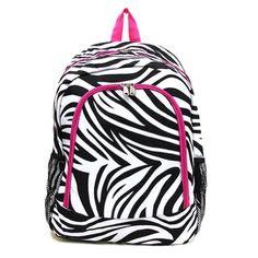 Zebra Hot Pink Trim Backpack - traveler for dummies for mom Gym Backpack, Toddler Backpack, Black Backpack, Little Girl Backpack, Top Backpacks, Awesome Backpacks, School Accessories, Pink Zebra, Cheetah