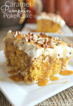 Caramel Pumpkin Poke Cake from Six Sisters Stuff. Maybe try toffee bits on top