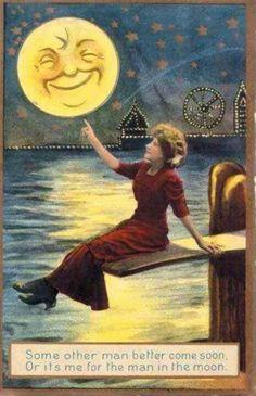 Vintage+Moon images on Photobucket Moon Images, Moon Photos, Moon Pictures, Look At The Moon, Man On The Moon, Sun Moon Stars, Sun And Stars, Fantasy, Moon Dance
