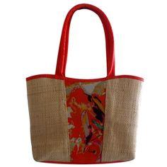Bolsa em Palha com Estampa Floral Frontal Laranja, bolsa grande para praia ou cidade, combina com vários looks, versátil. Flores