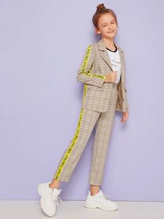 Girls Slogan Tape Sleeve Tartan Print Blazer And Pants Set – Kidenhouse Stylish Dresses For Girls, Dresses Kids Girl, Kids Outfits Girls, Cute Girl Outfits, Girls Fashion Clothes, Tween Fashion, Little Girl Fashion, Teen Fashion Outfits, Cute Casual Outfits