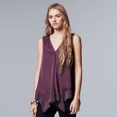 Women's Simply Vera Vera Wang Handkerchief Tank ($25) ❤ liked on Polyvore featuring tops, drk purple, purple tank, v neck tank top, purple top, v-neck tank and purple tank top