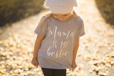 """Girls Toddler Shirt Mama is my Bestie by TheWhiteInviteGifts This """"Mama is my Bestie"""" short sleeve toddler tshirt graphic tee is the perfect gift and is sure to have everyone asking you where you got this great shirt. Infant and toddler size t shirts are available. We use a high-quality unisex kids t-shirt."""