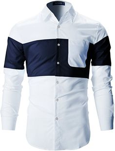 a086009eb4035 Mens Designer Slim Fit Contrast Two-Tone Long Sleeve Shirts