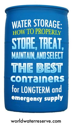 See our detailed report on how to properly store water and the best water storage containers in which to store them. We've selected which storage containers would be best for your family size and storage plans.