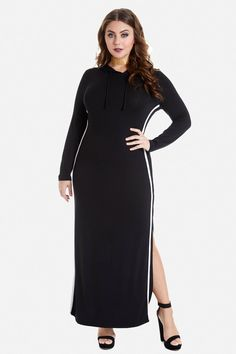 Plus Size Hooded Maxi Dress With Splits