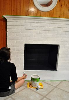 Painting a fireplace step by step tutorial from Young House Love Fireplace Update, Brick Fireplace Makeover, White Fireplace, Fireplace Remodel, Fireplace Ideas, How To Paint Fireplace, How To Paint Brick, Painting A Fireplace, Paint Brick Fireplace White
