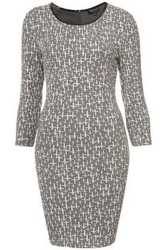 Topshop Half Sleeve Ottoman Cross Bodycon Dress / Grey & White / Size UK 8 #TopShop