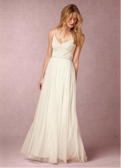 a8c46ae9233 Magbridal Exquisite Tulle Spaghetti Straps Neckline Natural Waistline  Floor-length A-line Bridesmaid Dresses With Beadings
