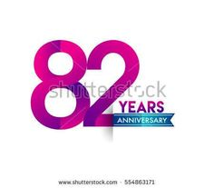 eighty two years anniversary celebration logotype colorfull design with blue ribbon, 82nd birthday logo on white background