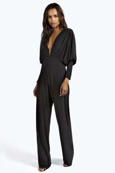 Kayla Plunge Neck Batwing Jumpsuit at boohoo.com