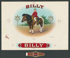 Vintage Billy The Kid Riding Horse on Original Antique Cigar Box Label Proof Art | eBay