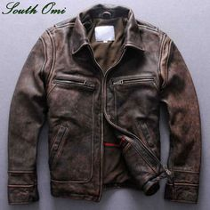 mens distressed brown leather moto jacket - Google Search