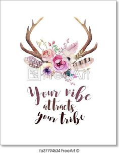 Hand drawn vintage deer horns with flowers leaves and herbs. Eco style hipster illustration on white.